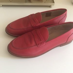 NWOT J. Crew Red Ryan Penny Loafers